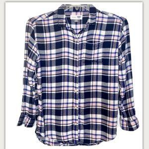 Old Navy Boyfriend Plaid Flannel Shirt XL